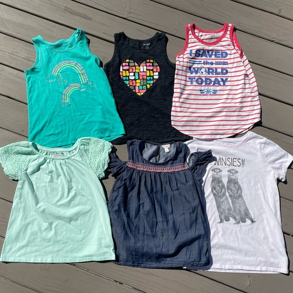 Lot of 6 Girls' Shirts & Tank Tops - L 10/12